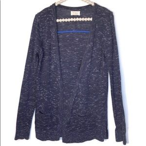 Lou & Grey Navy Blue Marled Cardigan Front Pockets